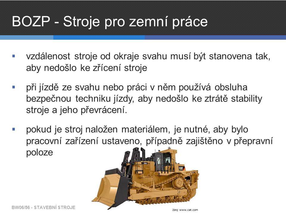 BOZP - Stroje pro zemní práce  vzdálenost stroje od okraje svahu musí být stanovena tak, aby nedošlo ke zřícení stroje  při jízdě ze svahu nebo prác