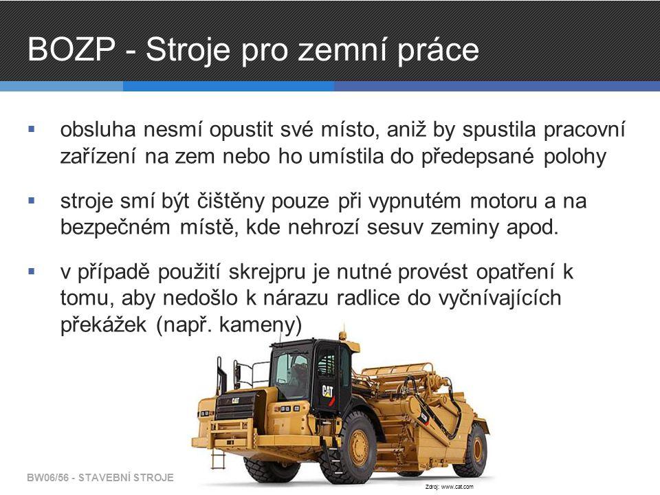 BOZP - Stroje pro zemní práce  obsluha nesmí opustit své místo, aniž by spustila pracovní zařízení na zem nebo ho umístila do předepsané polohy  str