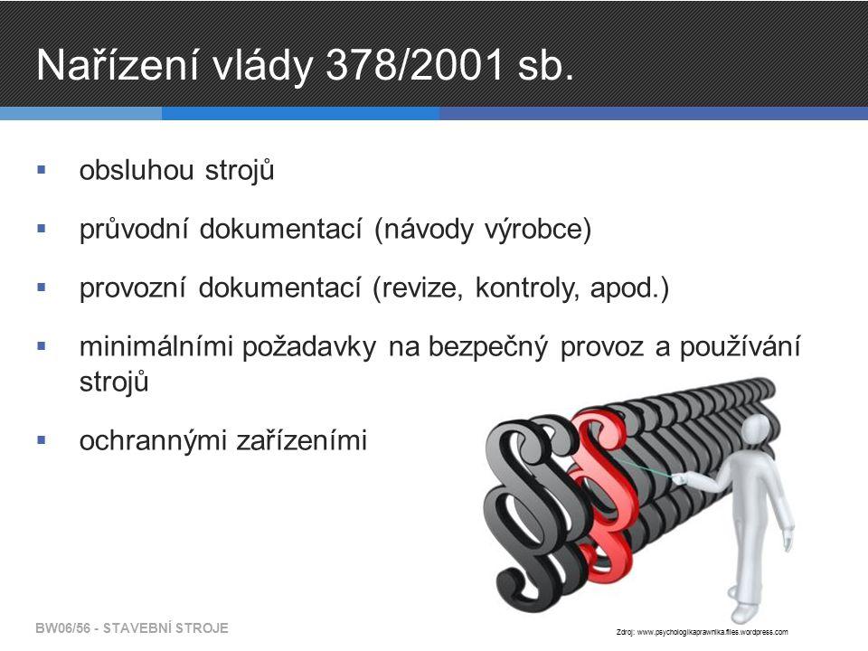 Nařízení vlády 378/2001 sb.  obsluhou strojů  průvodní dokumentací (návody výrobce)  provozní dokumentací (revize, kontroly, apod.)  minimálními p