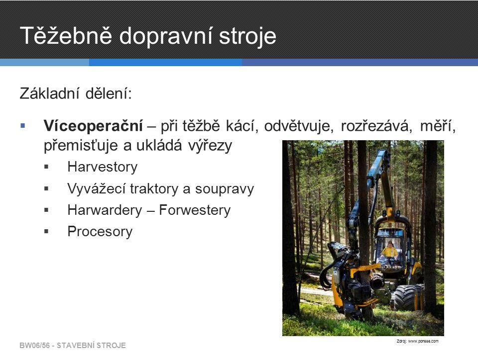 Těžebně dopravní stroje Základní dělení:  Víceoperační – při těžbě kácí, odvětvuje, rozřezává, měří, přemisťuje a ukládá výřezy  Harvestory  Vyváže