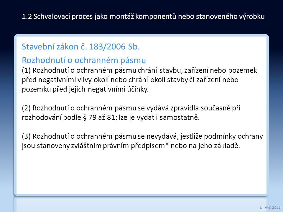 © IHAS 2011 Stavební zákon č. 183/2006 Sb. Rozhodnutí o ochranném pásmu (1) Rozhodnutí o ochranném pásmu chrání stavbu, zařízení nebo pozemek před neg