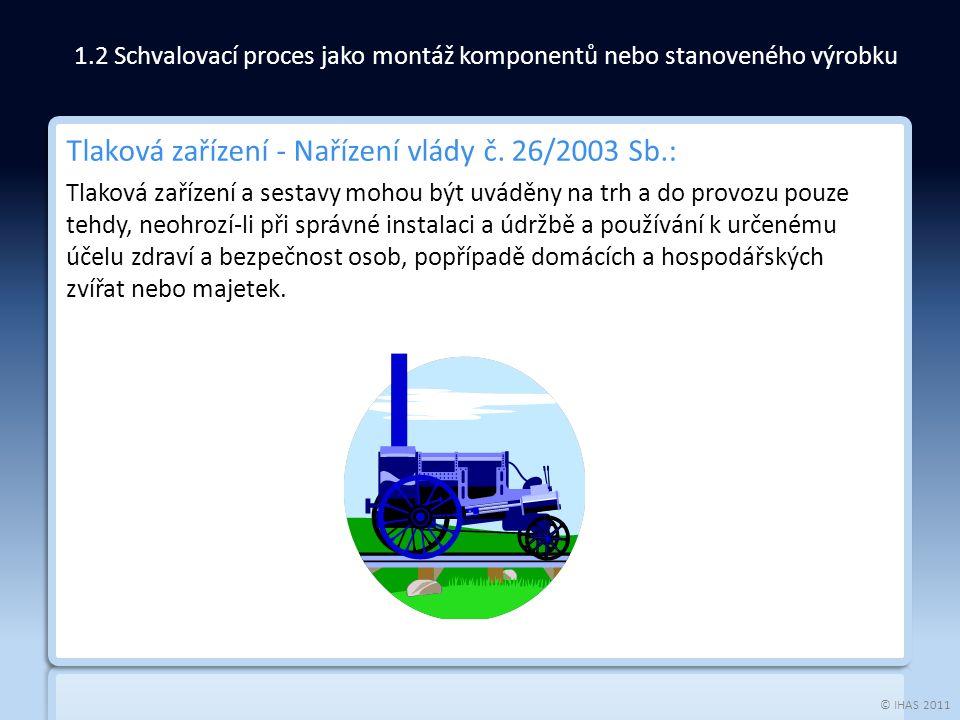 © IHAS 2011 Tlaková zařízení - Nařízení vlády č. 26/2003 Sb.: Tlaková zařízení a sestavy mohou být uváděny na trh a do provozu pouze tehdy, neohrozí-l