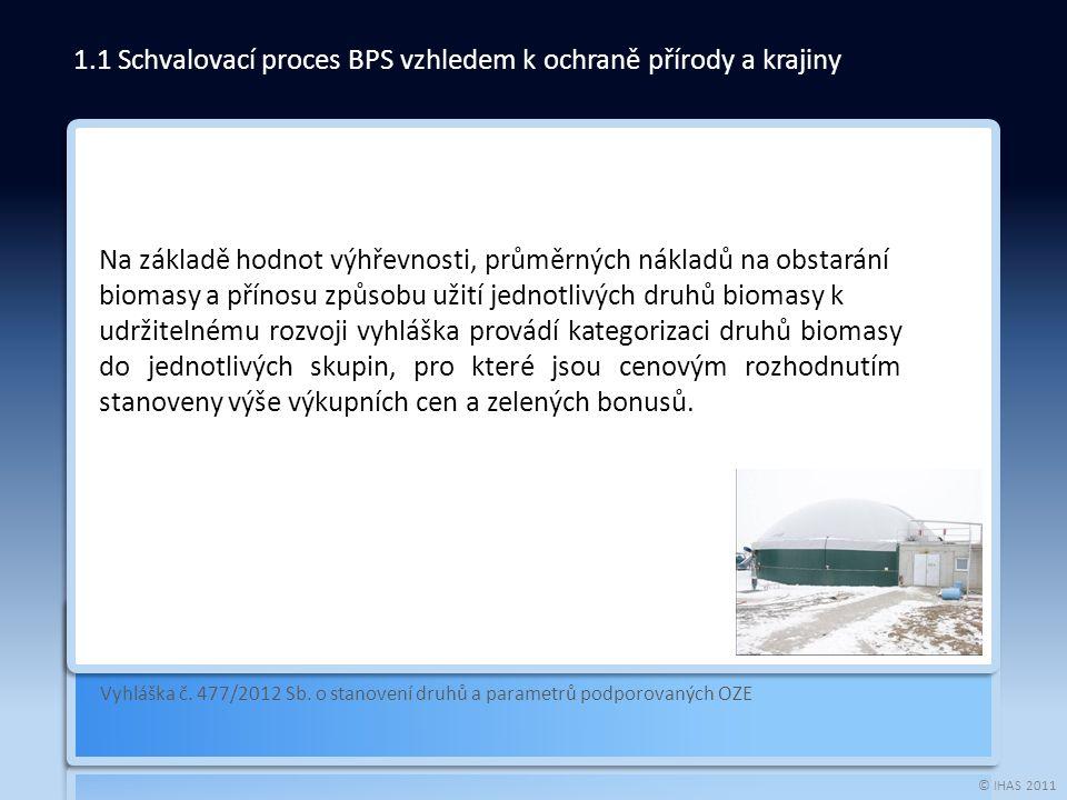 © IHAS 2011 Vyhláška č. 477/2012 Sb. o stanovení druhů a parametrů podporovaných OZE 1.1 Schvalovací proces BPS vzhledem k ochraně přírody a krajiny N
