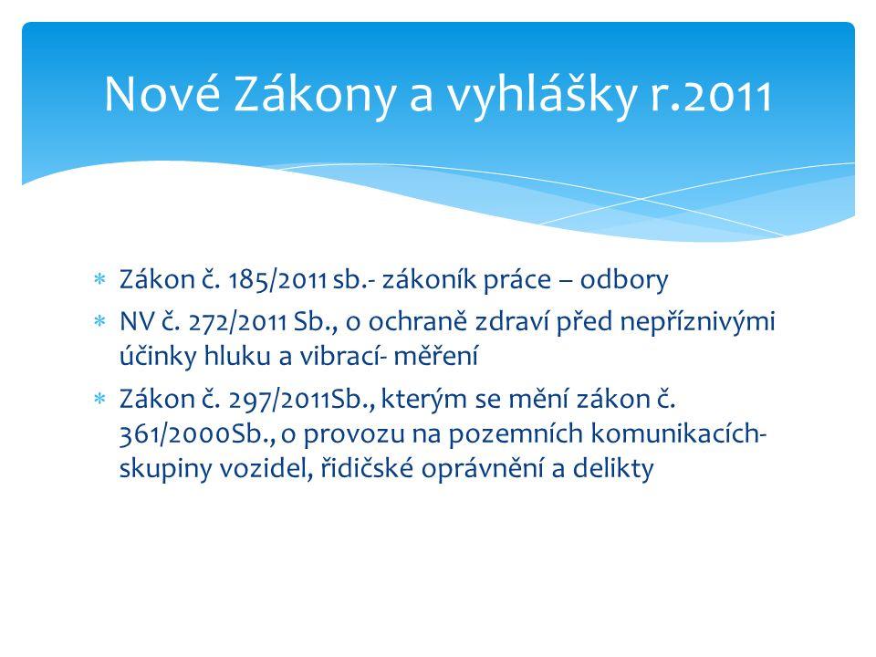  Zákon č. 185/2011 sb.- zákoník práce – odbory  NV č.