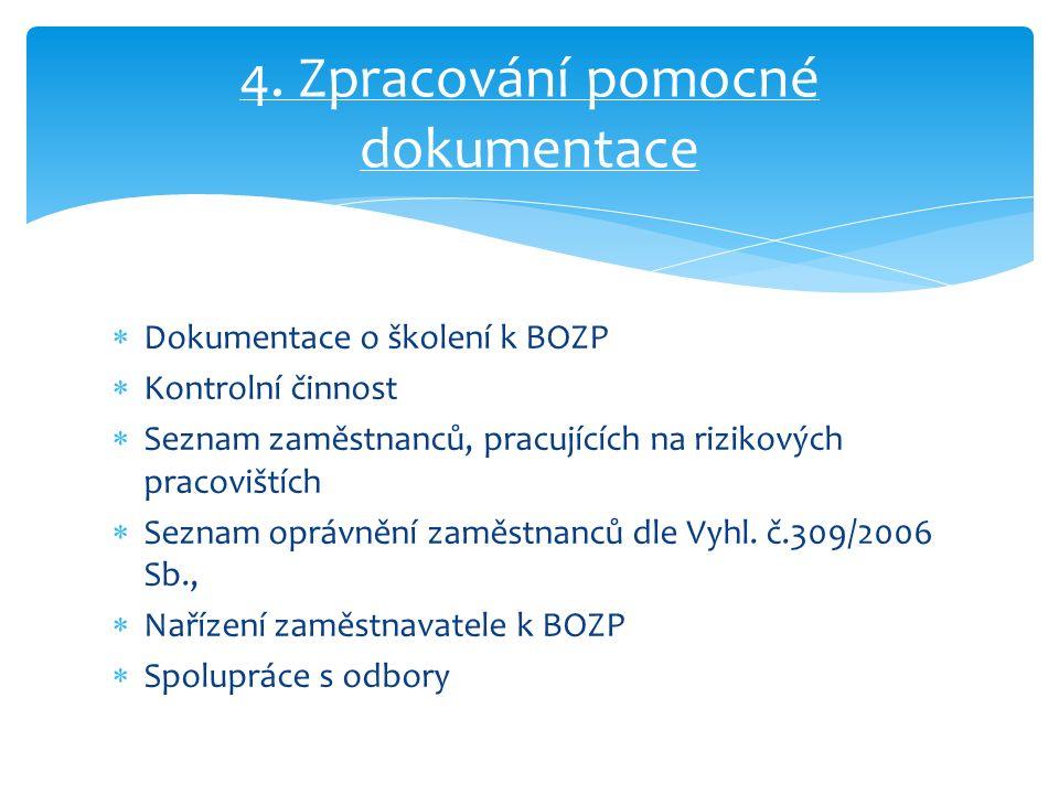  Dokumentace o školení k BOZP  Kontrolní činnost  Seznam zaměstnanců, pracujících na rizikových pracovištích  Seznam oprávnění zaměstnanců dle Vyhl.