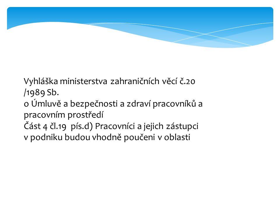 Vyhláška ministerstva zahraničních věcí č.20 /1989 Sb.