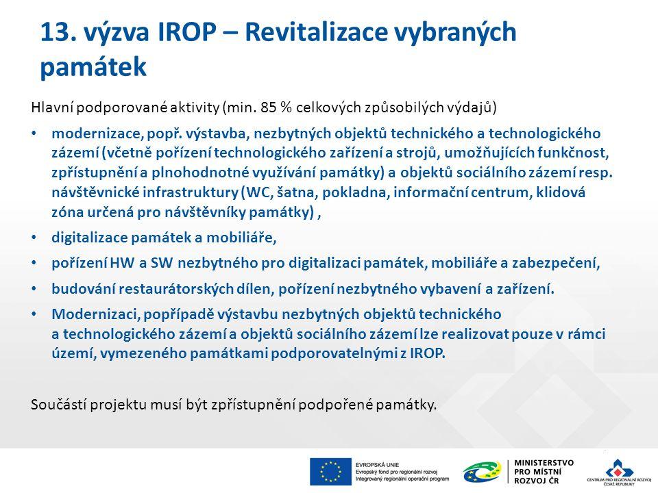 13. výzva IROP – Revitalizace vybraných památek Hlavní podporované aktivity (min.