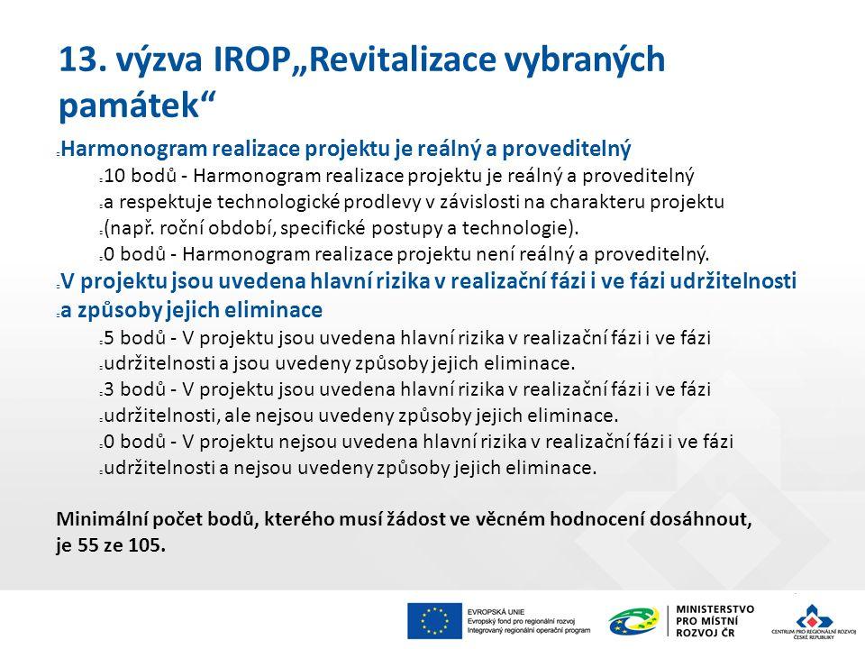 """13. výzva IROP""""Revitalizace vybraných památek"""" Harmonogram realizace projektu je reálný a proveditelný 10 bodů - Harmonogram realizace projektu je reá"""