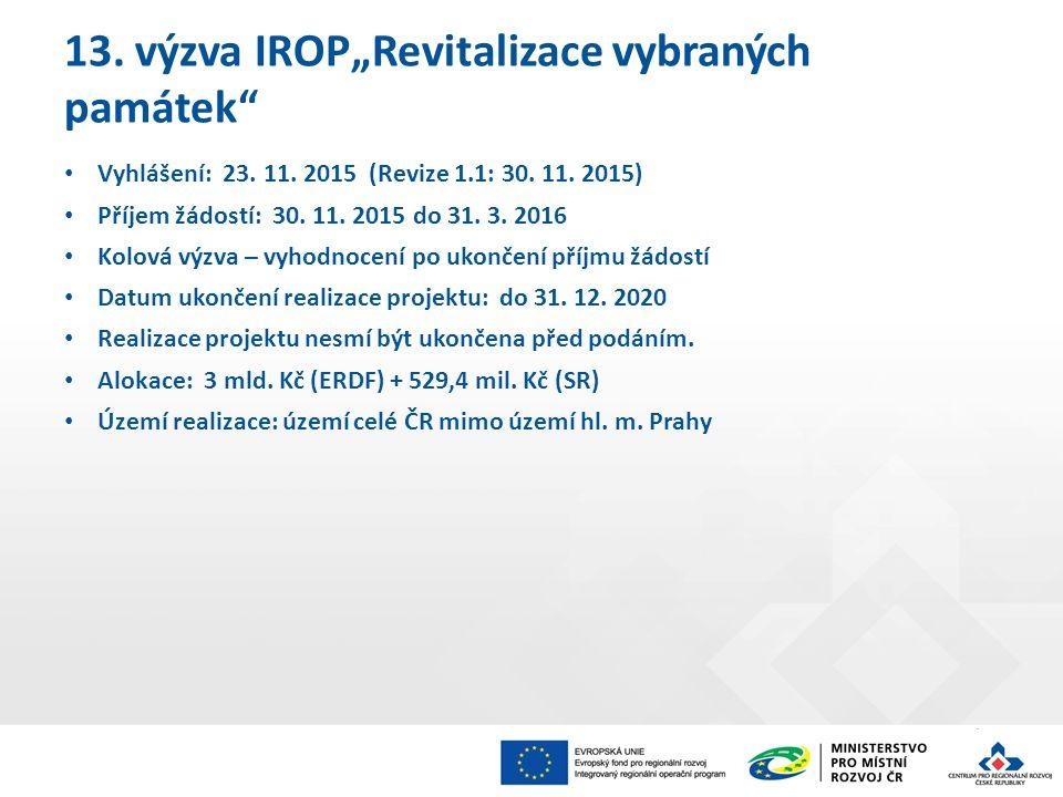 """13. výzva IROP""""Revitalizace vybraných památek Vyhlášení: 23."""