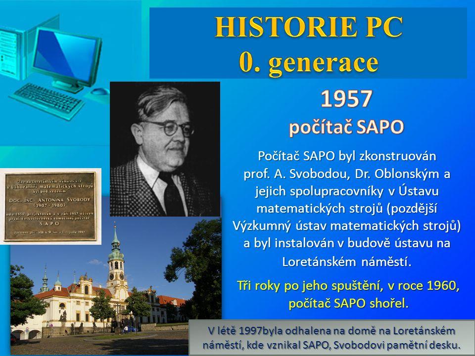 Počítač SAPO byl zkonstruován prof. A. Svobodou, Dr.
