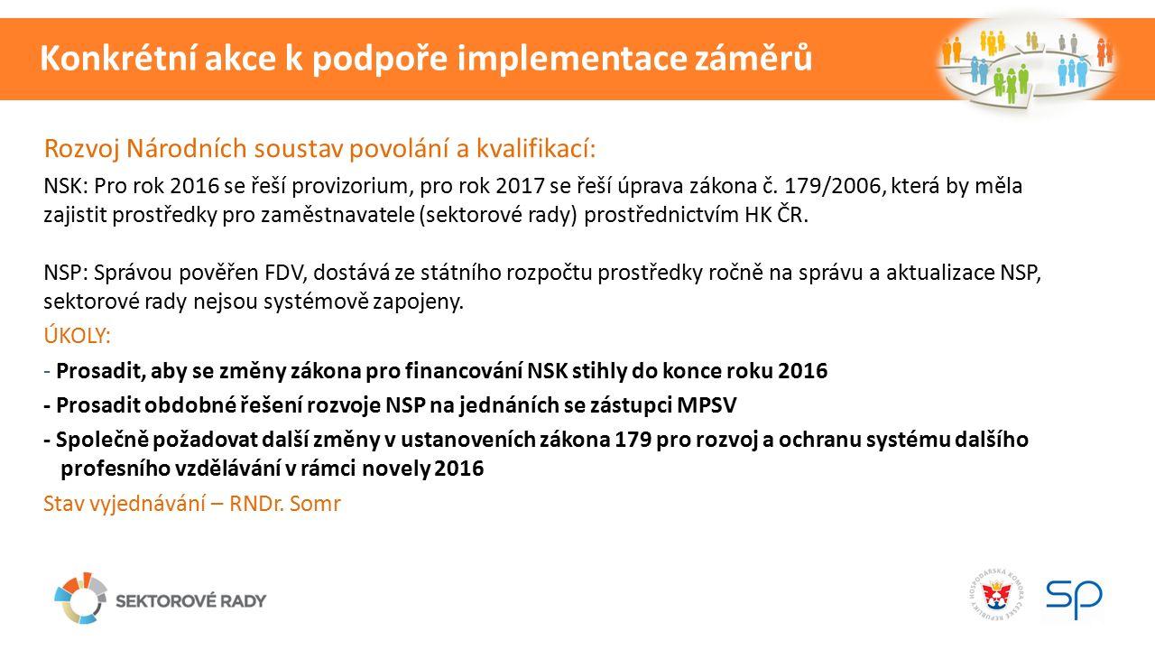 Rozvoj Národních soustav povolání a kvalifikací: NSK: Pro rok 2016 se řeší provizorium, pro rok 2017 se řeší úprava zákona č.