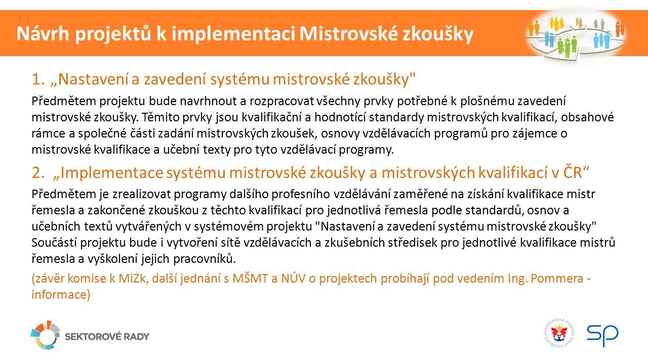 """1.""""Nastavení a zavedení systému mistrovské zkoušky Předmětem projektu bude navrhnout a rozpracovat všechny prvky potřebné k plošnému zavedení mistrovské zkoušky."""
