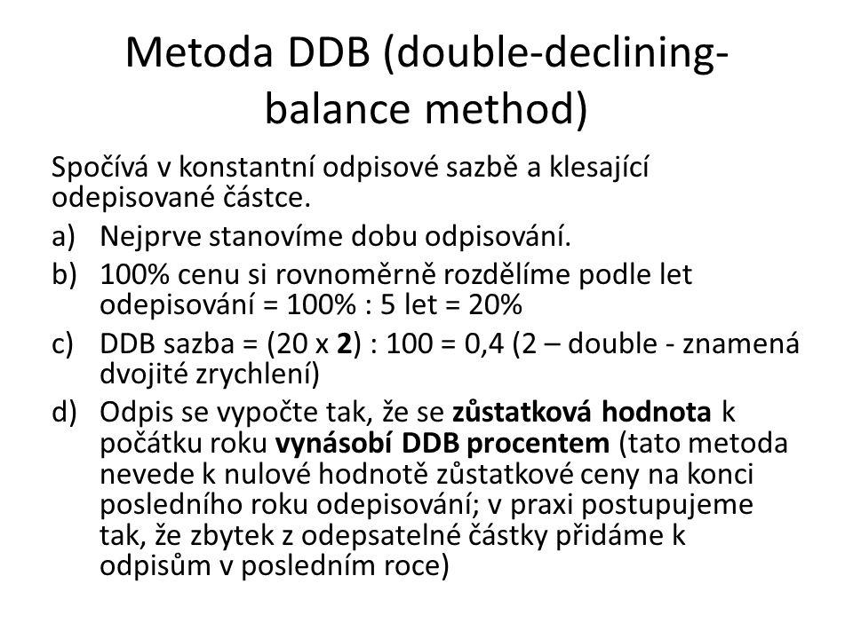 Metoda DDB (double-declining- balance method) Spočívá v konstantní odpisové sazbě a klesající odepisované částce.