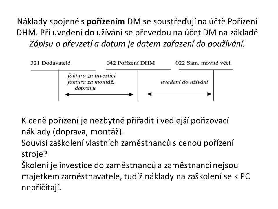Náklady spojené s pořízením DM se soustřeďují na účtě Pořízení DHM.