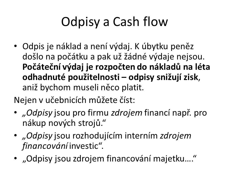 Odpisy a Cash flow Odpis je náklad a není výdaj.
