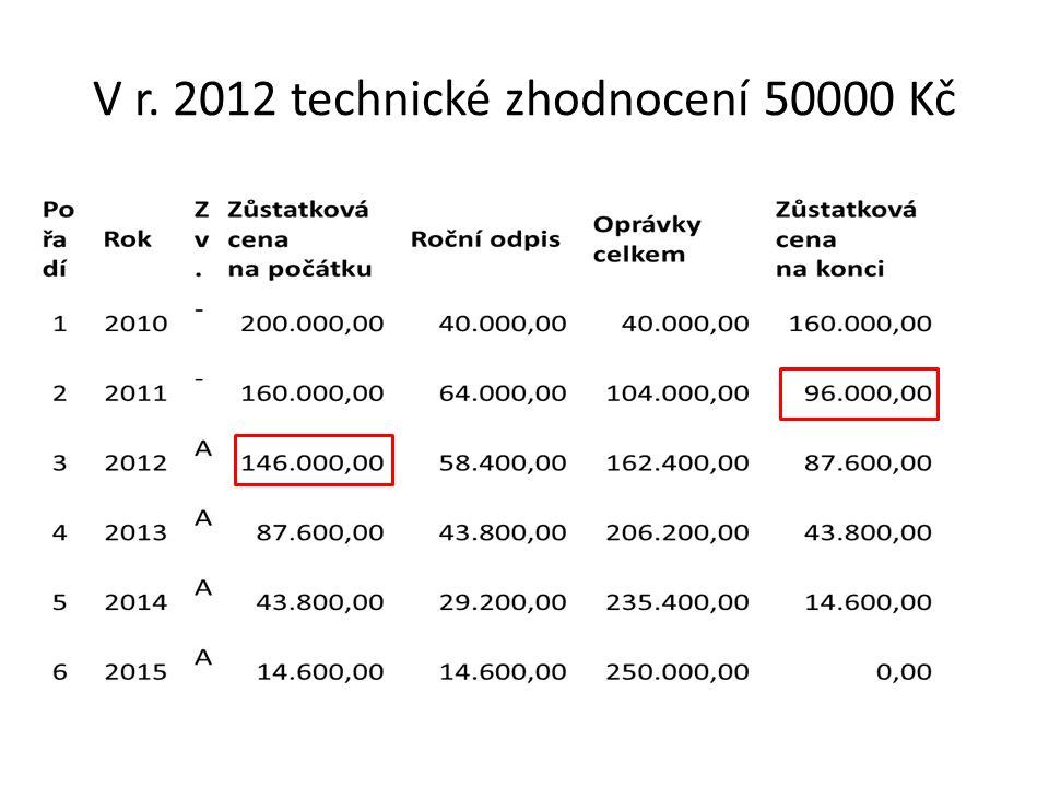 V r. 2012 technické zhodnocení 50000 Kč