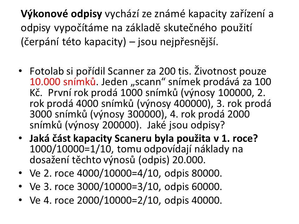 Příklad: zrychlené odpisování Laboratorní zařízení, které jsme zařadili do 2.