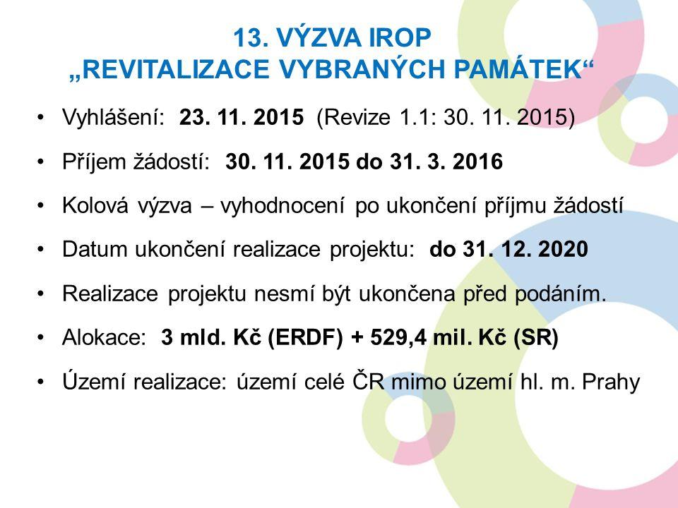 Vyhlášení: 23. 11. 2015 (Revize 1.1: 30. 11. 2015) Příjem žádostí: 30.