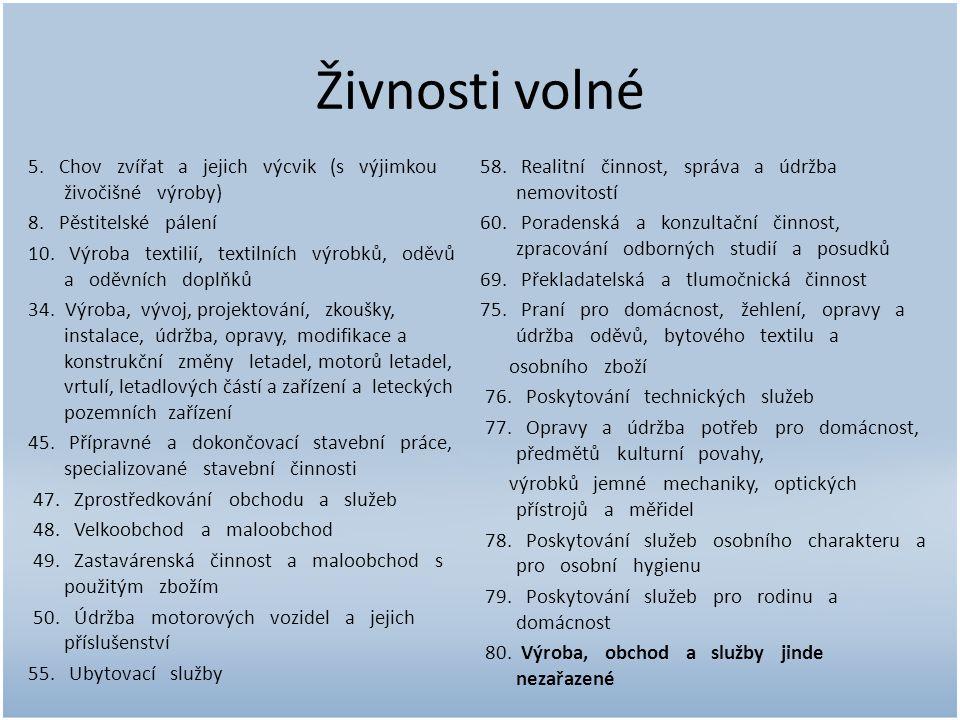 Živnosti volné 5. Chov zvířat a jejich výcvik (s výjimkou živočišné výroby) 8.