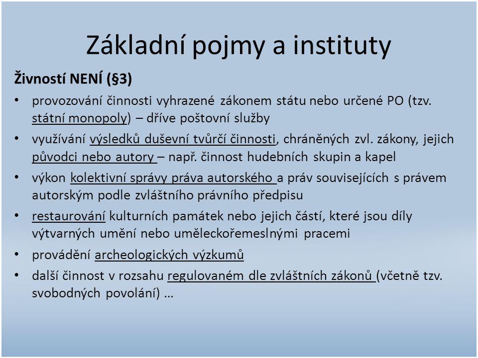 Základní pojmy a instituty Živností NENÍ (§3) provozování činnosti vyhrazené zákonem státu nebo určené PO (tzv.