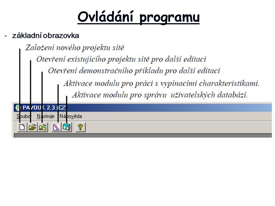 Ovládání programu -základní obrazovka