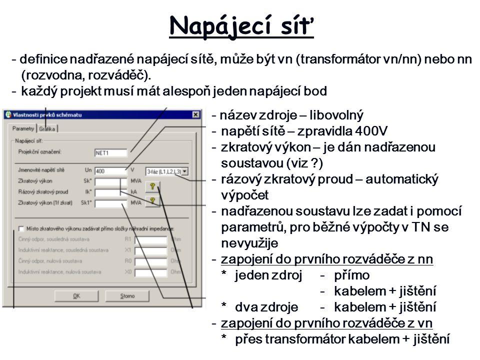 Napájecí síť - definice nadřazené napájecí sítě, může být vn (transformátor vn/nn) nebo nn (rozvodna, rozváděč).