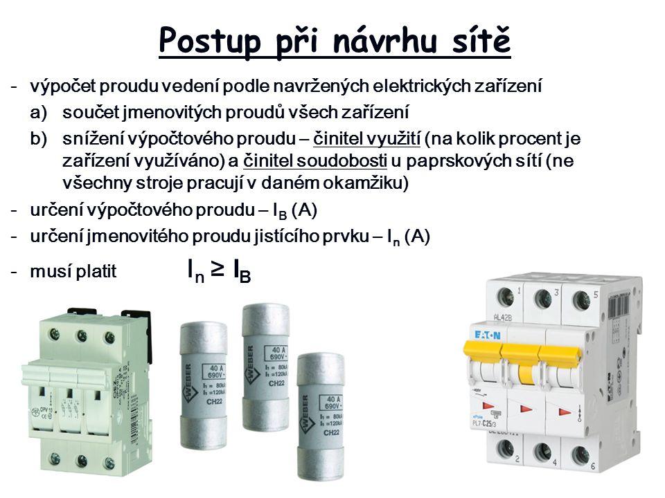 Postup při návrhu sítě -výpočet proudu vedení podle navržených elektrických zařízení a)součet jmenovitých proudů všech zařízení b)snížení výpočtového proudu – činitel využití (na kolik procent je zařízení využíváno) a činitel soudobosti u paprskových sítí (ne všechny stroje pracují v daném okamžiku) -určení výpočtového proudu – I B (A) -určení jmenovitého proudu jistícího prvku – I n (A) -musí platit I n ≥ I B
