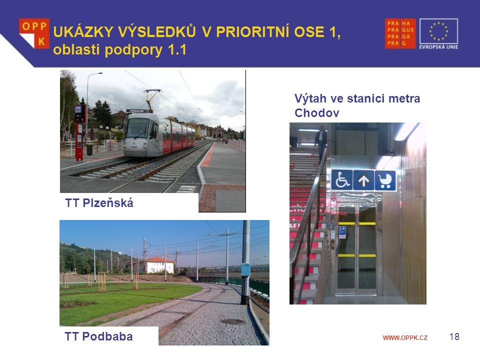 WWW.OPPK.CZ 18 UKÁZKY VÝSLEDKŮ V PRIORITNÍ OSE 1, oblasti podpory 1.1 TT Plzeňská TT Podbaba Výtah ve stanici metra Chodov
