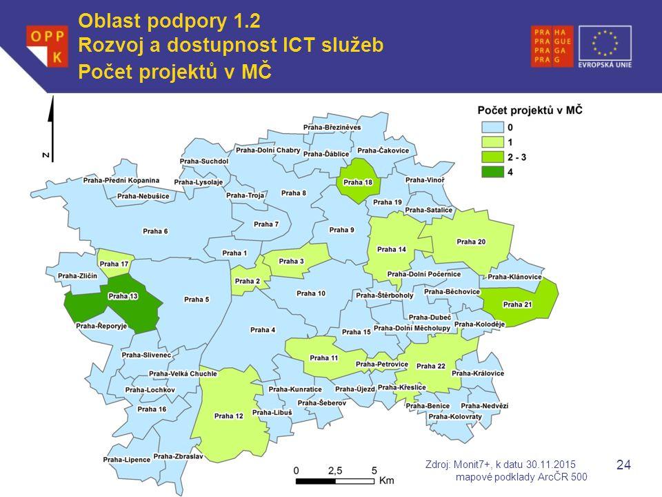 WWW.OPPK.CZ Počet projektů v MČ 24 Zdroj: Monit7+, k datu 30.11.2015 mapové podklady ArcČR 500 Oblast podpory 1.2 Rozvoj a dostupnost ICT služeb