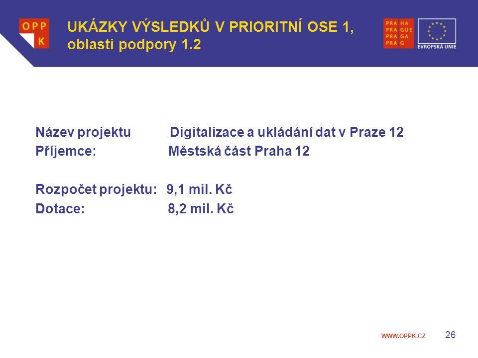 WWW.OPPK.CZ Název projektu Digitalizace a ukládání dat v Praze 12 Příjemce: Městská část Praha 12 Rozpočet projektu: 9,1 mil.