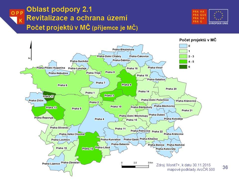 WWW.OPPK.CZ 36 Počet projektů v MČ (příjemce je MČ) Zdroj: Monit7+, k datu 30.11.2015 mapové podklady ArcČR 500 Oblast podpory 2.1 Revitalizace a ochrana území