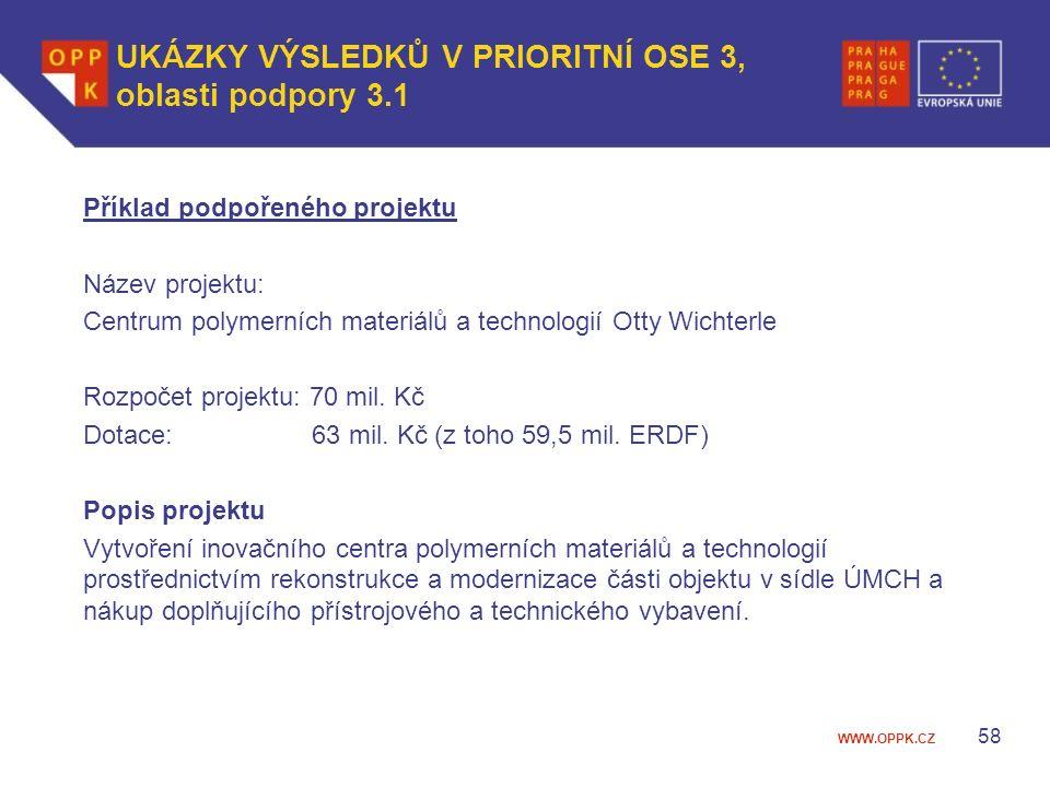 WWW.OPPK.CZ Příklad podpořeného projektu Název projektu: Centrum polymerních materiálů a technologií Otty Wichterle Rozpočet projektu: 70 mil.