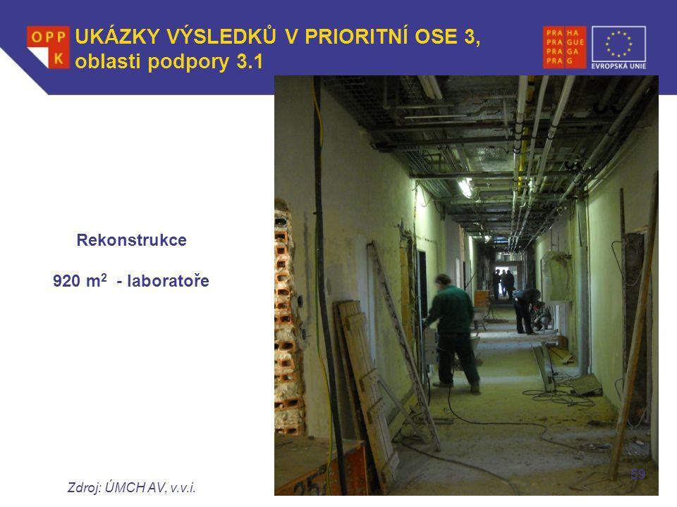 WWW.OPPK.CZ Rekonstrukce 920 m 2 - laboratoře Zdroj: ÚMCH AV, v.v.i.