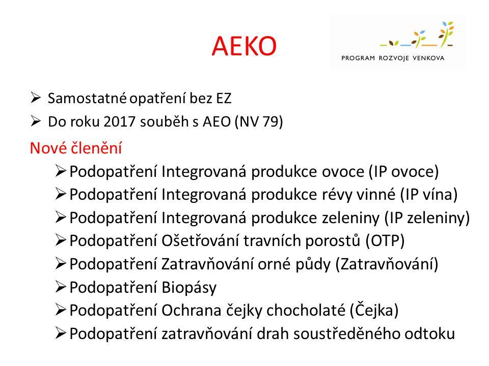 AEKO  Samostatné opatření bez EZ  Do roku 2017 souběh s AEO (NV 79) Nové členění  Podopatření Integrovaná produkce ovoce (IP ovoce)  Podopatření Integrovaná produkce révy vinné (IP vína)  Podopatření Integrovaná produkce zeleniny (IP zeleniny)  Podopatření Ošetřování travních porostů (OTP)  Podopatření Zatravňování orné půdy (Zatravňování)  Podopatření Biopásy  Podopatření Ochrana čejky chocholaté (Čejka)  Podopatření zatravňování drah soustředěného odtoku