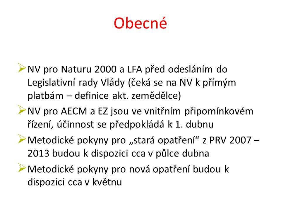 Obecné  NV pro Naturu 2000 a LFA před odesláním do Legislativní rady Vlády (čeká se na NV k přímým platbám – definice akt.