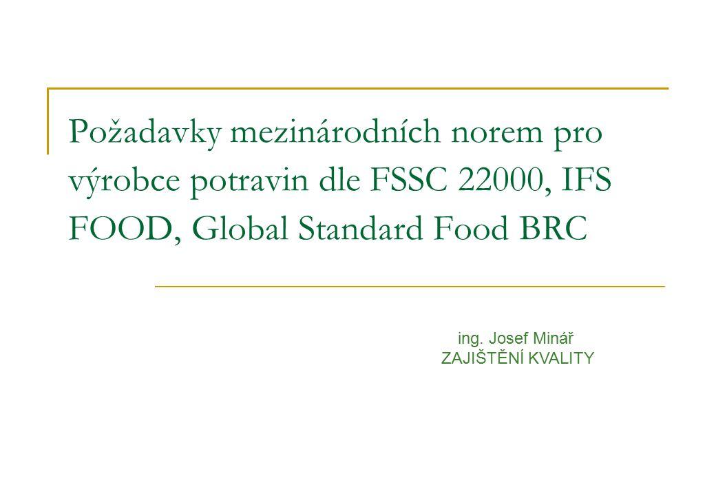 Požadavky mezinárodních norem pro výrobce potravin dle FSSC 22000, IFS FOOD, Global Standard Food BRC ing. Josef Minář ZAJIŠTĚNÍ KVALITY