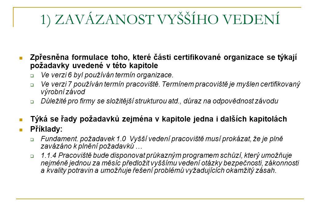 1) ZAVÁZANOST VYŠŠÍHO VEDENÍ Zpřesněna formulace toho, které části certifikované organizace se týkají požadavky uvedené v této kapitole  Ve verzi 6 b