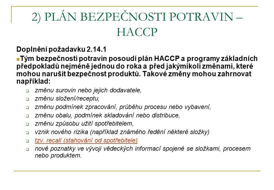 2) PLÁN BEZPEČNOSTI POTRAVIN – HACCP Doplnění požadavku 2.14.1 Tým bezpečnosti potravin posoudí plán HACCP a programy základních předpokladů nejméně jednou do roka a před jakýmikoli změnami, které mohou narušit bezpečnost produktů.