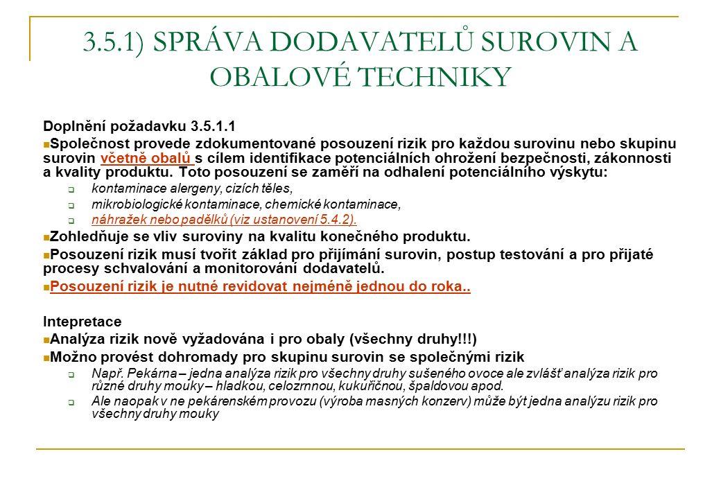 3.5.1) SPRÁVA DODAVATELŮ SUROVIN A OBALOVÉ TECHNIKY Doplnění požadavku 3.5.1.1 Společnost provede zdokumentované posouzení rizik pro každou surovinu n