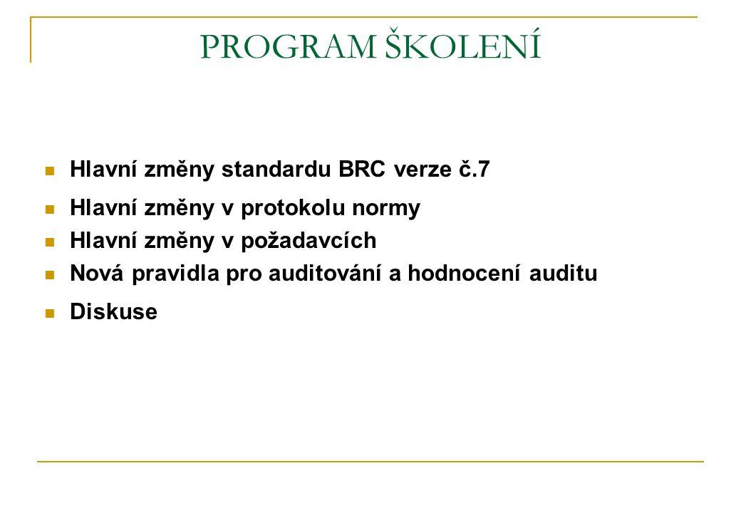 PROGRAM ŠKOLENÍ Hlavní změny standardu BRC verze č.7 Hlavní změny v protokolu normy Hlavní změny v požadavcích Nová pravidla pro auditování a hodnocen