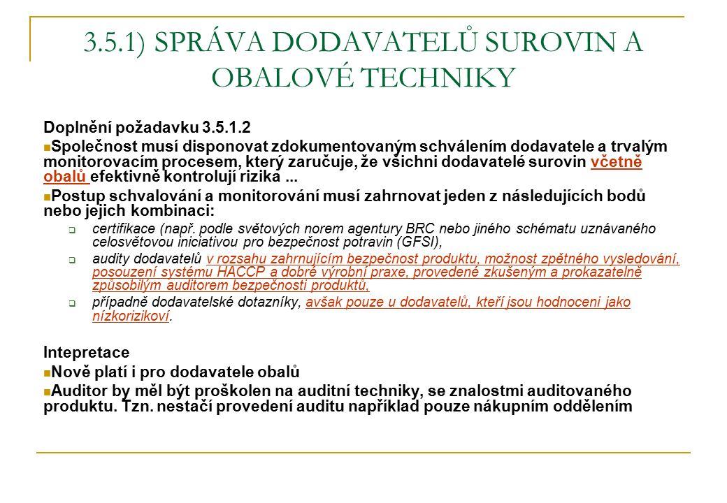 3.5.1) SPRÁVA DODAVATELŮ SUROVIN A OBALOVÉ TECHNIKY Doplnění požadavku 3.5.1.2 Společnost musí disponovat zdokumentovaným schválením dodavatele a trva
