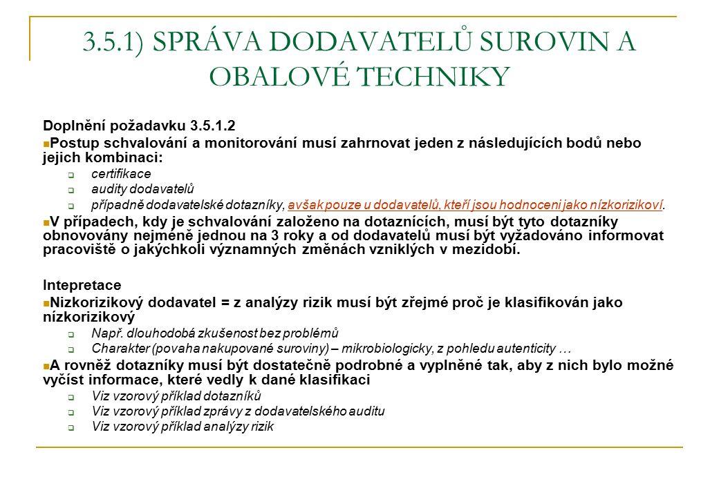 3.5.1) SPRÁVA DODAVATELŮ SUROVIN A OBALOVÉ TECHNIKY Doplnění požadavku 3.5.1.2 Postup schvalování a monitorování musí zahrnovat jeden z následujících