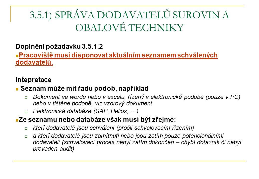 3.5.1) SPRÁVA DODAVATELŮ SUROVIN A OBALOVÉ TECHNIKY Doplnění požadavku 3.5.1.2 Pracoviště musí disponovat aktuálním seznamem schválených dodavatelů. I