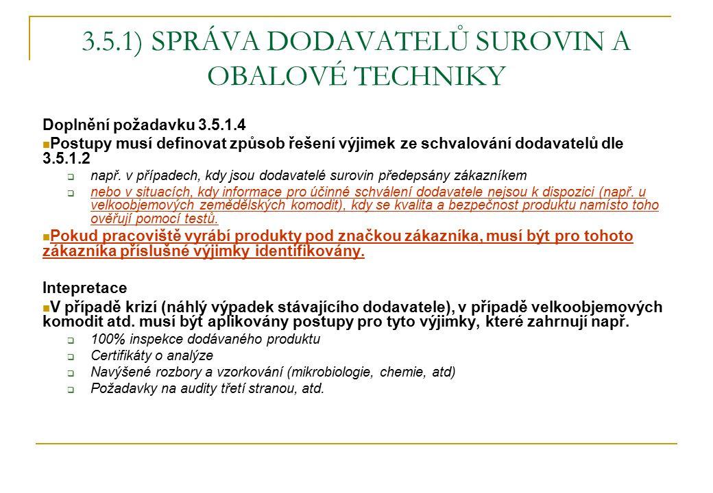 3.5.1) SPRÁVA DODAVATELŮ SUROVIN A OBALOVÉ TECHNIKY Doplnění požadavku 3.5.1.4 Postupy musí definovat způsob řešení výjimek ze schvalování dodavatelů dle 3.5.1.2  např.
