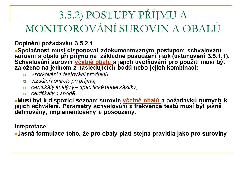 3.5.2) POSTUPY PŘÍJMU A MONITOROVÁNÍ SUROVIN A OBALŮ Doplnění požadavku 3.5.2.1 Společnost musí disponovat zdokumentovaným postupem schvalování surovi