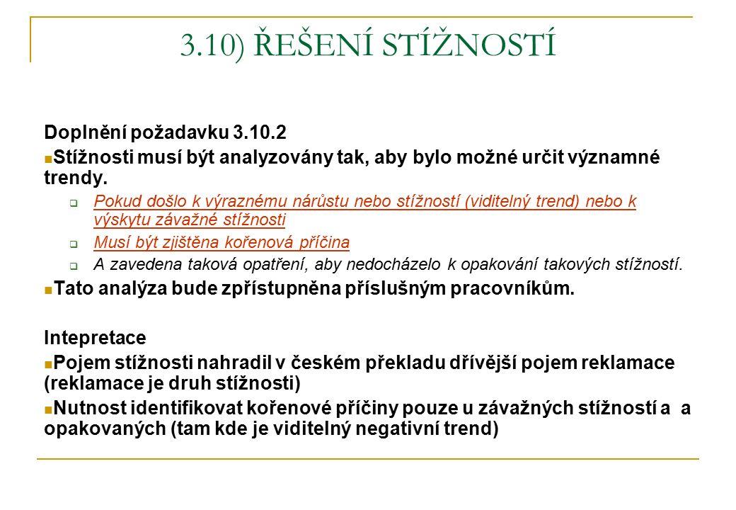 3.10) ŘEŠENÍ STÍŽNOSTÍ Doplnění požadavku 3.10.2 Stížnosti musí být analyzovány tak, aby bylo možné určit významné trendy.  Pokud došlo k výraznému n