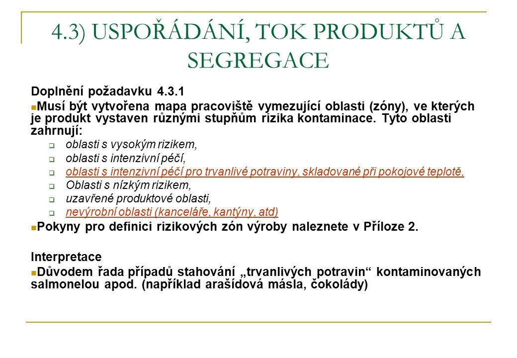 4.3) USPOŘÁDÁNÍ, TOK PRODUKTŮ A SEGREGACE Doplnění požadavku 4.3.1 Musí být vytvořena mapa pracoviště vymezující oblasti (zóny), ve kterých je produkt vystaven různými stupňům rizika kontaminace.
