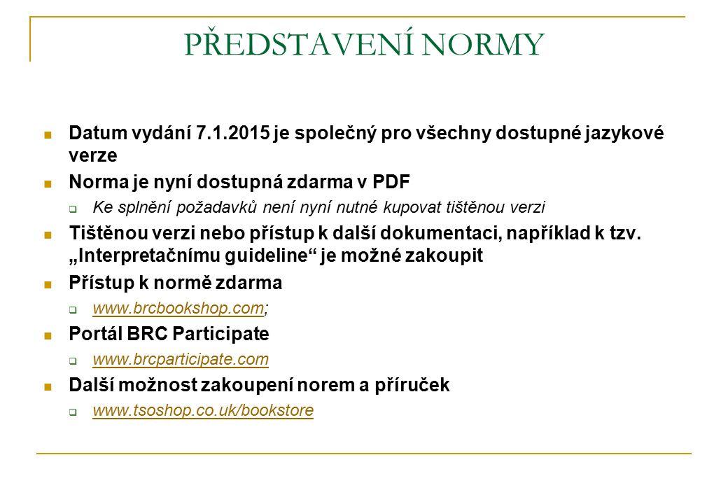 PŘEDSTAVENÍ NORMY Datum vydání 7.1.2015 je společný pro všechny dostupné jazykové verze Norma je nyní dostupná zdarma v PDF  Ke splnění požadavků nen