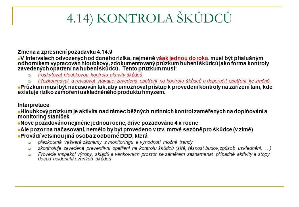 4.14) KONTROLA ŠKŮDCŮ Změna a zpřesnění požadavku 4.14.9 V intervalech odvozených od daného rizika, nejméně však jednou do roka, musí být příslušným o