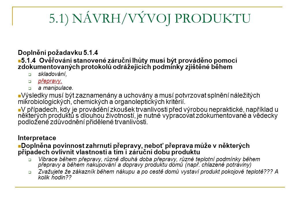 5.1) NÁVRH/VÝVOJ PRODUKTU Doplnění požadavku 5.1.4 5.1.4 Ověřování stanovené záruční lhůty musí být prováděno pomocí zdokumentovaných protokolů odráže